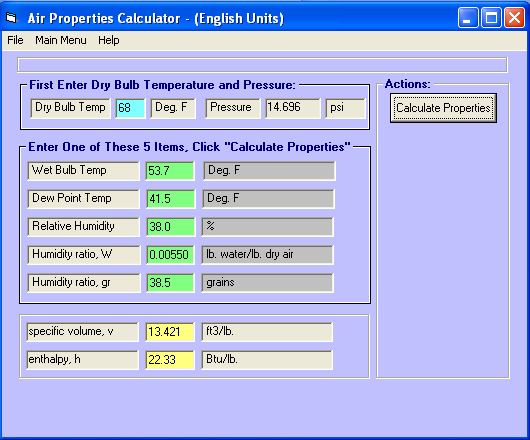 EZAir Properties moist air properties calculator for windows